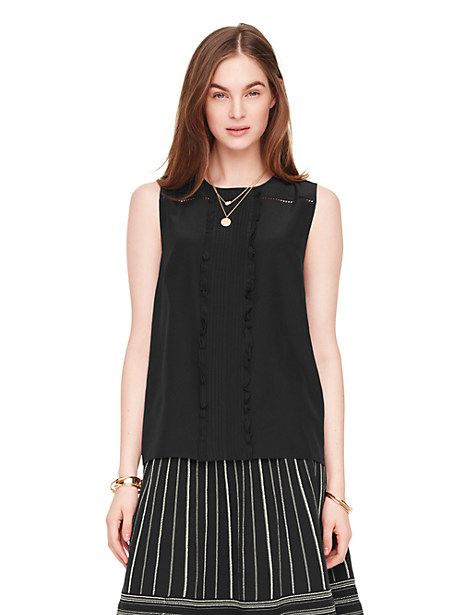 Kate Spade Silk Pleated Top, Black - Size 16