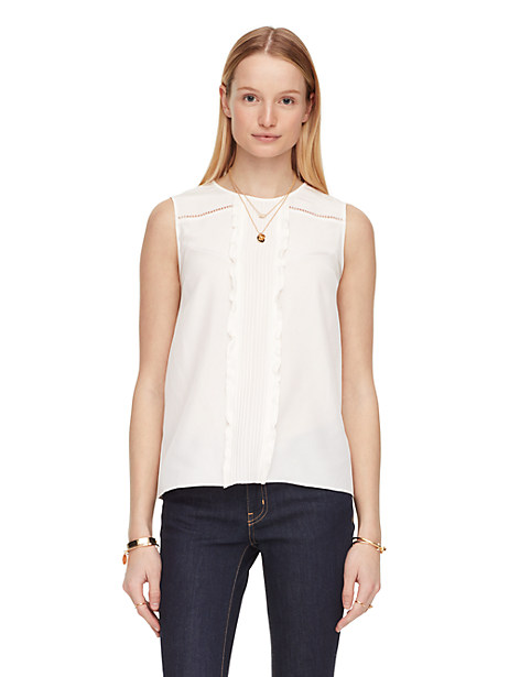 Kate Spade Silk Pleated Top, Cream - Size 16