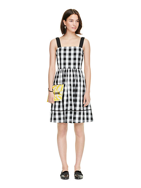 Kate Spade Gingham Dress, Black/Fresh White - Size 10