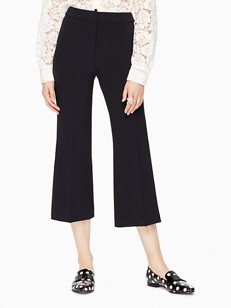 Kate Spade Crepe Cropped Flare Pant, Black - Size 10