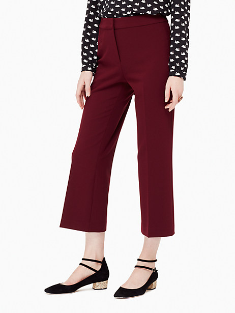 Kate Spade Crepe Cropped Flare Pant, Midnight Wine - Size 0