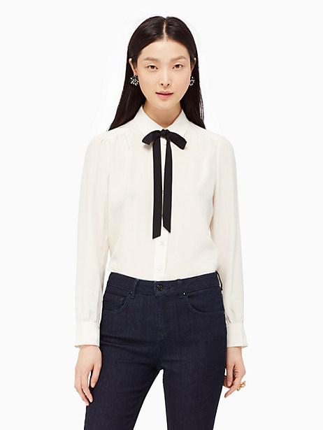Kate Spade Bow Tie Blouse, Light Shale - Size L