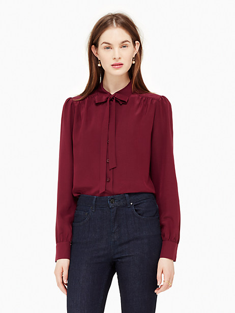 Kate Spade Bow Tie Blouse, Midnight Wine - Size XL