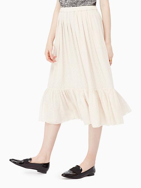 Kate Spade Clipped Chiffon Skirt, Light Shale - Size L