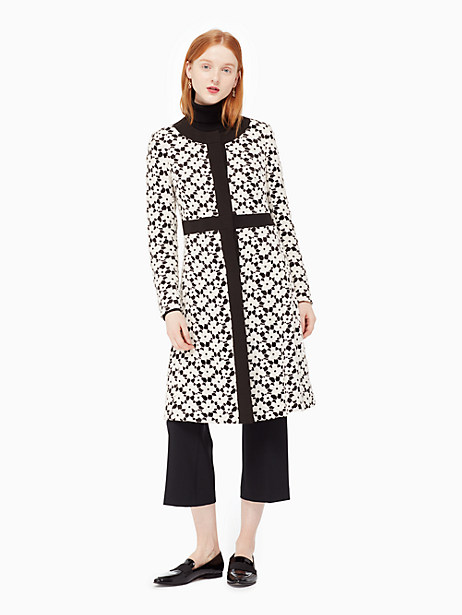 Kate Spade Guipure Lace A-line Coat, Light Shale/Black - Size 6