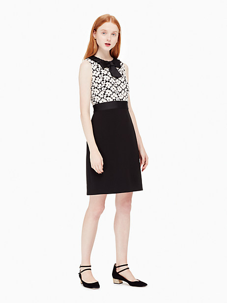 Kate Spade Guipure Lace Sheath Dress, Light Shale/Black - Size 14