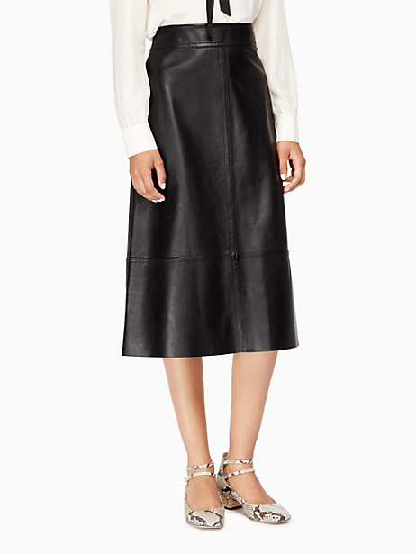 Kate Spade Leather A-line Skirt, Black - Size 0