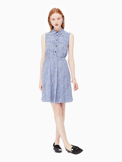 Kate Spade Petals Sleeveless Shirtdress, Ensemble Blue - Size L