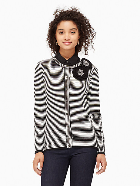Kate Spade Rosette Stripe Cardigan, Black - Size L