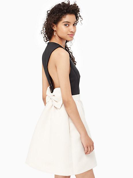 Kate Spade Satin Faille Bow Back Dress, Black/Light Shale - Size 10