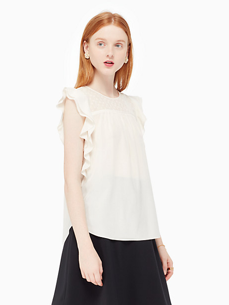 Kate Spade Silk Ruffle Top, Light Shale - Size XL