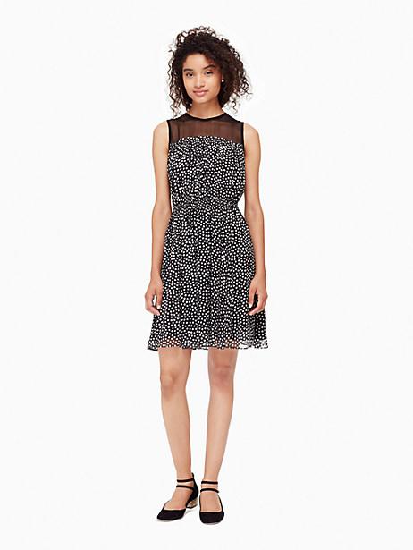Kate Spade Spot Chiffon Dress, Black/Cream - Size L