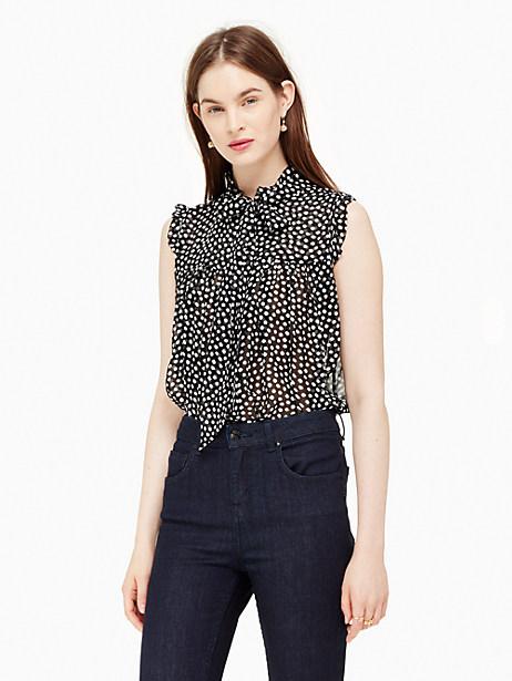 Kate Spade Spot Chiffon Ruffle Top, Black/Cream - Size XL