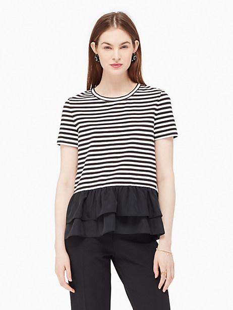 Kate Spade Stripe Flounce Tee, Black - Size M