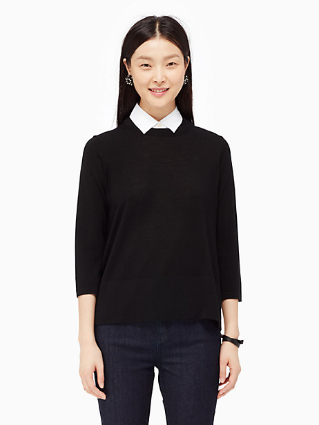 Kate Spade Collared Relaxed Sweater, Black - Size L