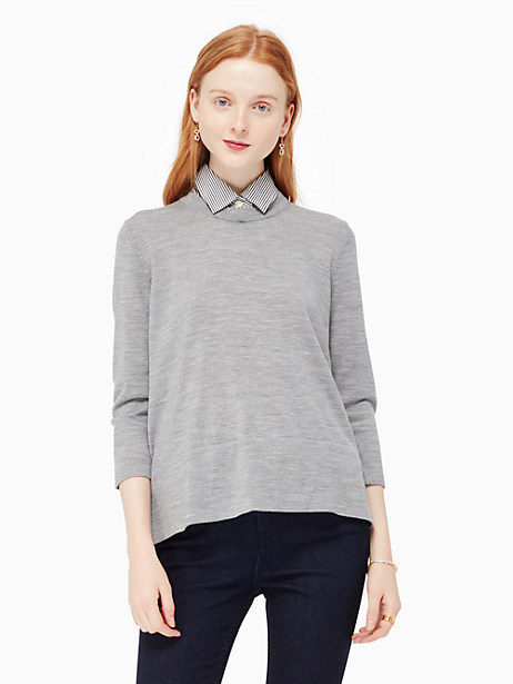 Kate Spade Collared Relaxed Sweater, Miles Grey Melange - Size L