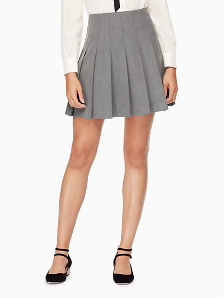 Kate Spade Pleated Twill Skirt, Miles Grey Melange - Size 10