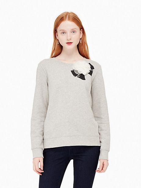 Kate Spade Rosette Bow Sweatshirt, Classic Grey Melange - Size L