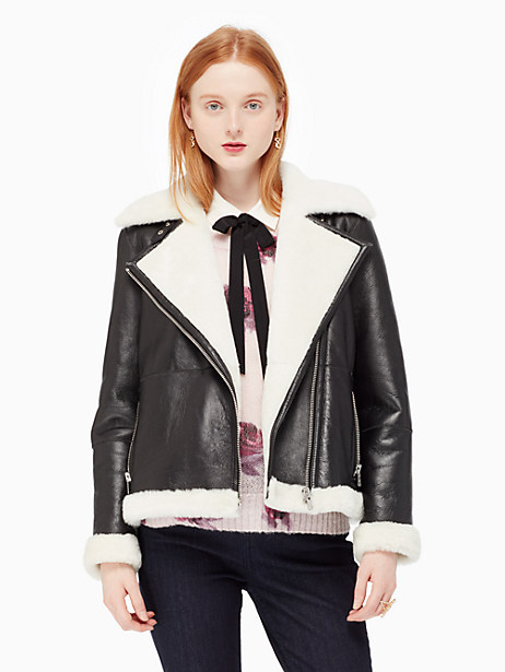 Kate Spade Shearling Coat, Black/Cream - Size L