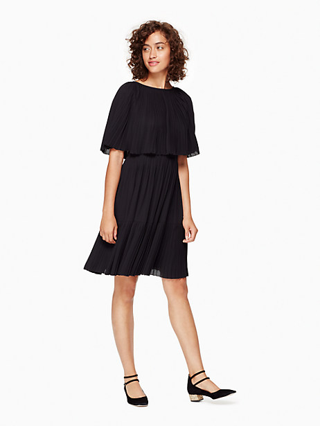 Kate Spade Pleated Cape Dress, Black - Size 0