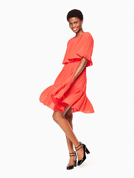 Kate Spade Pleated Cape Dress, Persimmon Grove - Size 0