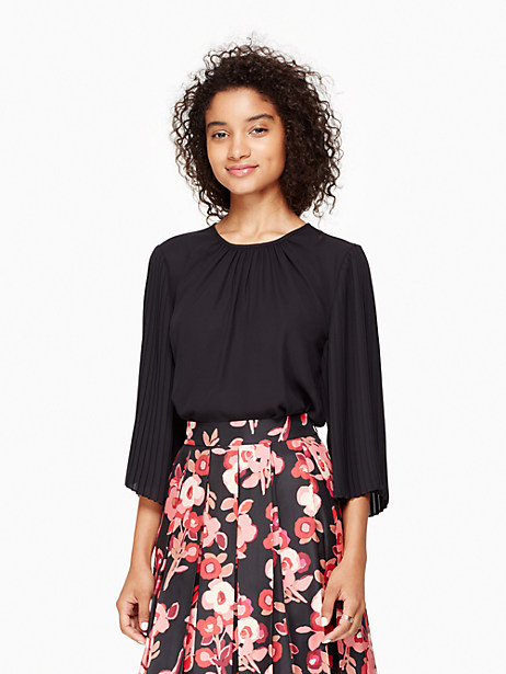 Kate Spade Pleated Sleeve Top, Black - Size L