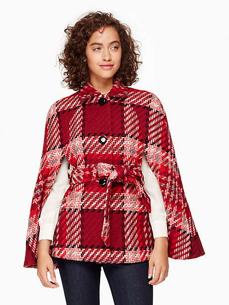 Kate Spade Chunky Plaid Cape, Red - Size L