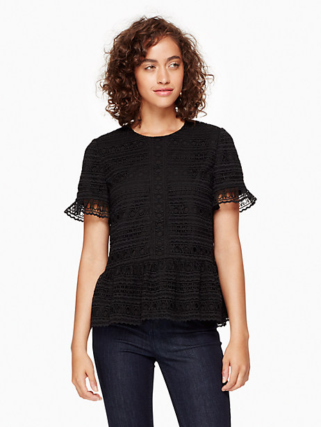 Kate Spade Mixed Lace Top, Black - Size L