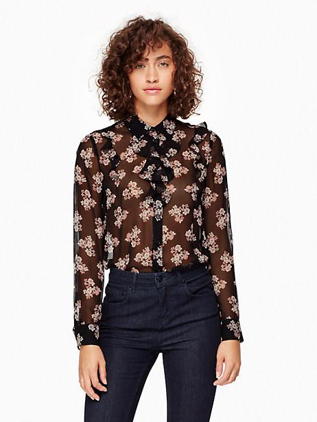 Kate Spade Ditzy Burst Chiffon Shirt, Black - Size L