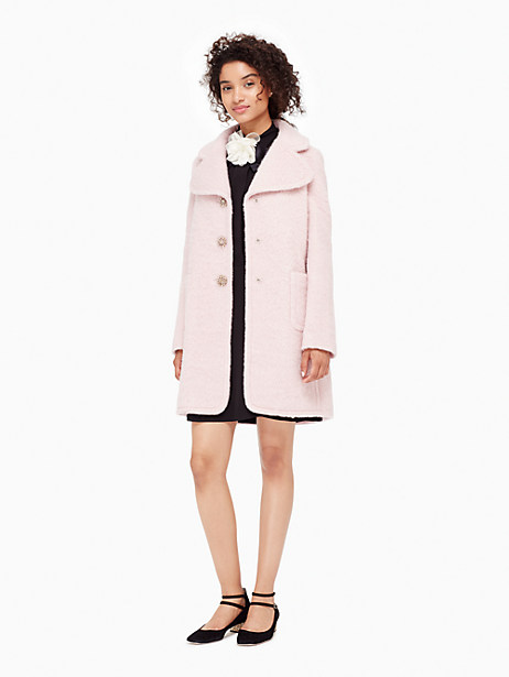Kate Spade Jewel Button Wool Coat, Icy Rose - Size 0