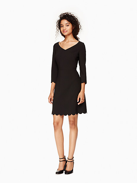 Kate Spade Scallop Hem Crepe Dress, Black - Size 0