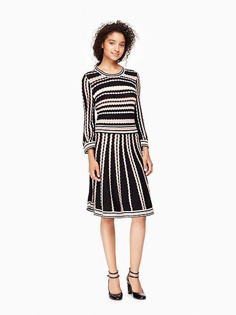 Kate Spade Scallop Stripe Knit Dress, Black - Size L