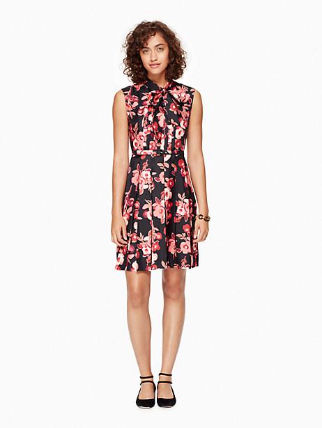 Kate Spade Shadow Buds Pleated Dress, Black - Size 00