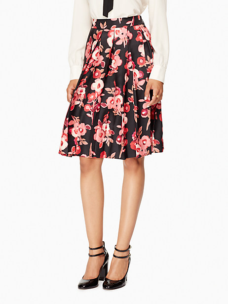Kate Spade Shadow Buds Pleated Skirt, Black - Size 0