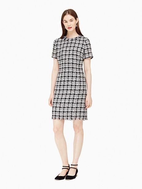 Kate Spade Textured Tweed Sheath Dress, Black/Grey - Size 14