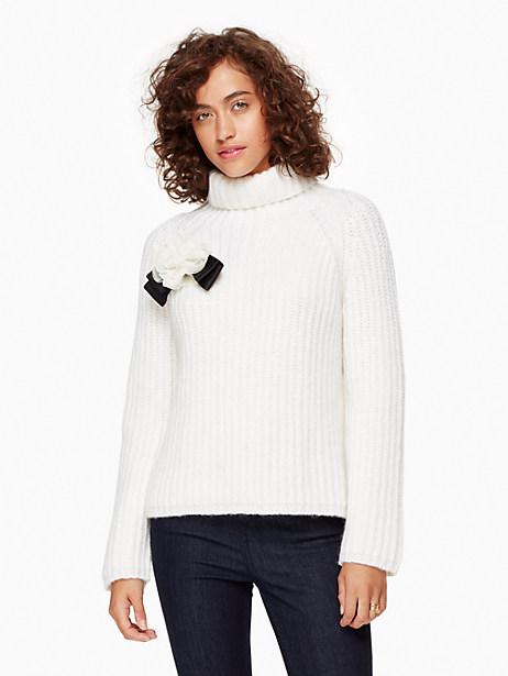 Kate Spade Rosette Bow Alpaca Sweater, Cream - Size L