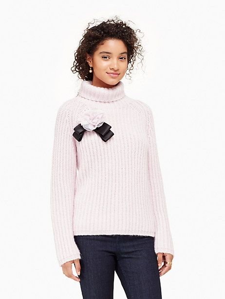 Kate Spade Rosette Bow Alpaca Sweater, Orchid Frost - Size L