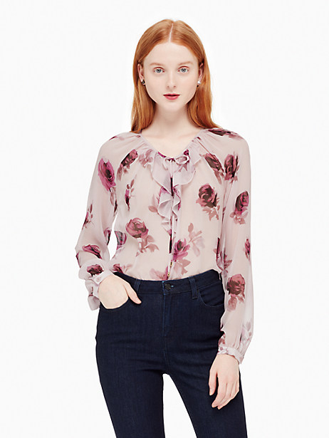 Kate Spade Encore Rose Chiffon Shirt, Plum Dawn - Size L