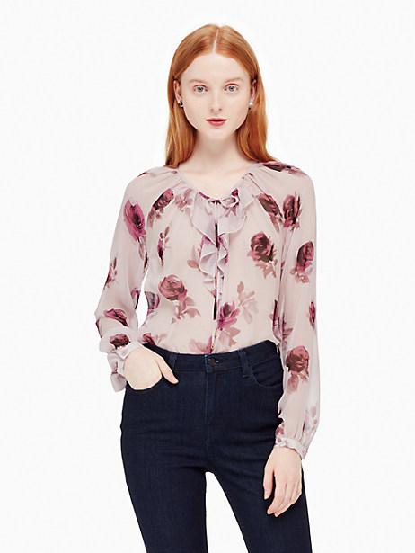 Kate Spade Encore Rose Chiffon Shirt, Plum Dawn - Size L