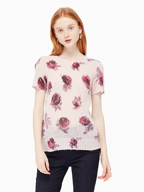 Kate Spade Encore Rose Printed Sweater, Plum Dawn - Size L