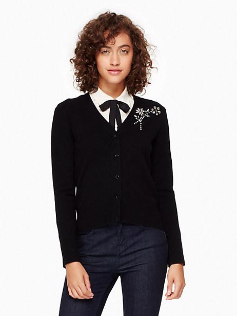 Kate Spade Embellished Brooch Cardigan, Black - Size L