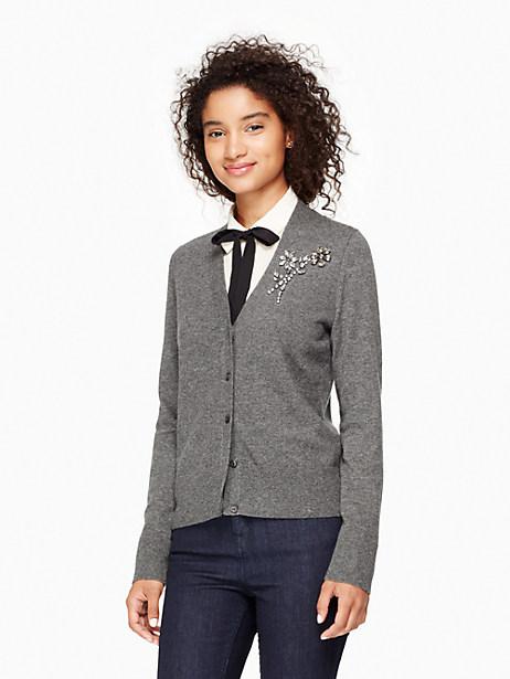 Kate Spade Embellished Brooch Cardigan, Miles Grey Melange - Size L
