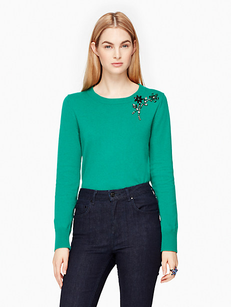 Kate Spade Embellished Brooch Sweater, Emerald Ring - Size S
