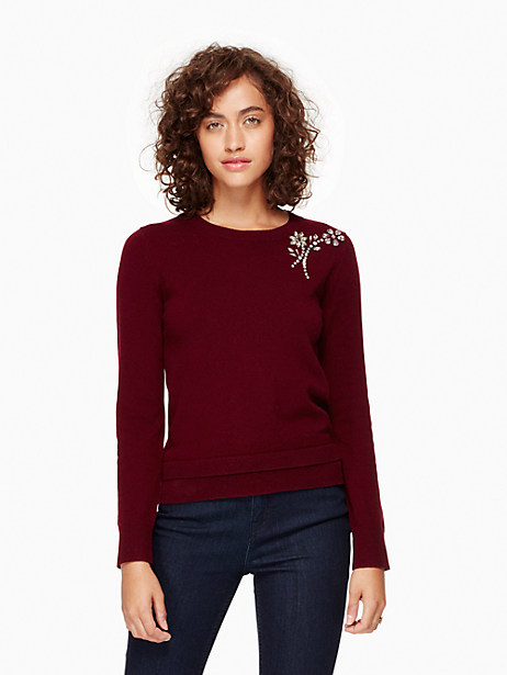 Kate Spade Embellished Brooch Sweater, Midnight Wine - Size L