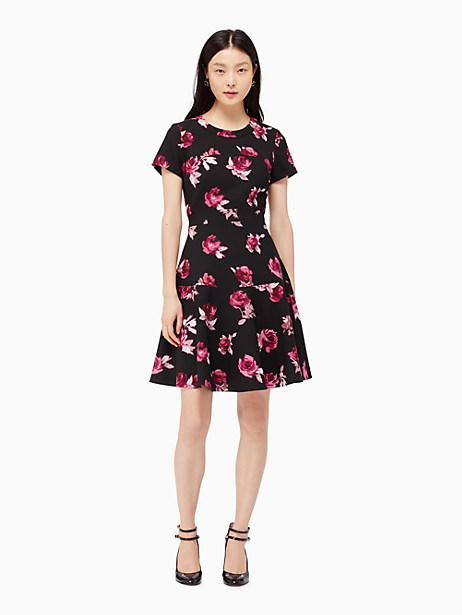 Kate Spade Encore Rose Crepe Dress, Black - Size 0