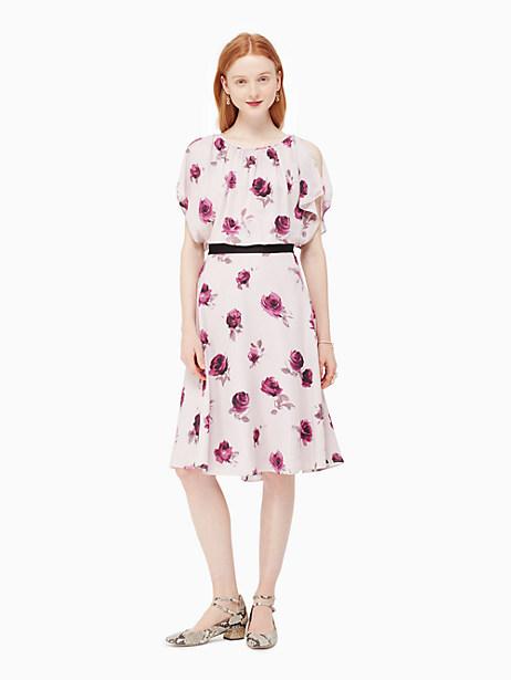 Kate Spade Encore Rose Flutter Dress, Plum Dawn - Size 10