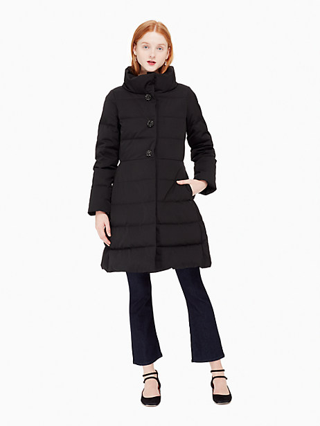 Kate Spade Jewel Button Puffer Coat, Black - Size 0
