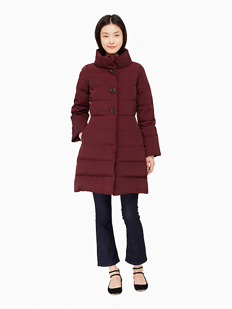 Kate Spade Jewel Button Puffer Coat, Midnight Wine - Size 0