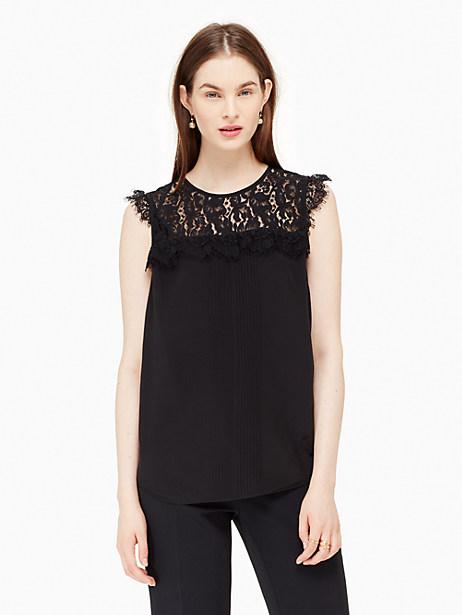 Kate Spade Lace Yoke Pleated Silk Top, Black - Size L