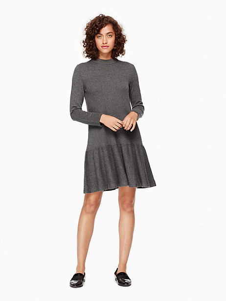 Kate Spade Mock Neck Knit Flounce Dress, Grey Melange - Size L